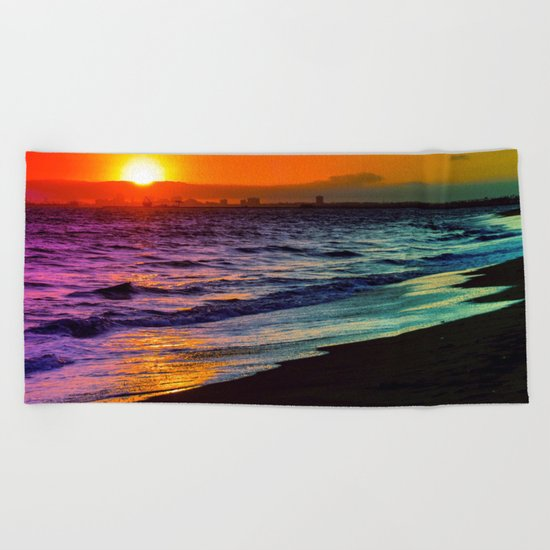 Rainbow Sunset Beach Towel