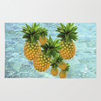 pineapples Area & Throw Rugs featuring Pineapples by Erika Kaisersot
