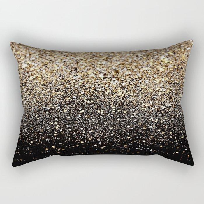 Black & Gold Sparkle Rectangular Pillow