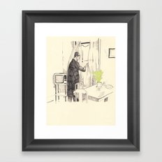 Léon with house plant Framed Art Print