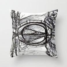 Bridge Reflection Marker Black white drawing Throw Pillow