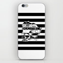 Gorgeous Skull With Flower Crown - Black and White Stripes iPhone Skin