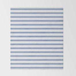 Mattress Ticking Wide Horizontal Stripe in Dark Blue and White Throw Blanket