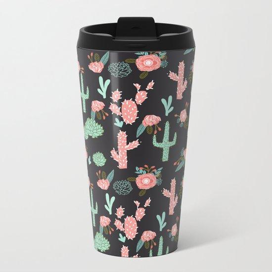 Cactus florals dark charcoal colorful trendy desert southwest house plants cacti succulents pattern Metal Travel Mug