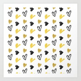 Gold and black hearts pattern Art Print