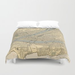 Vintage Map of Pittsburgh PA (1891) Duvet Cover