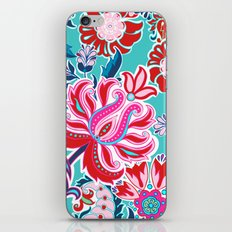 Bohemian Floral Paisley in Turquoise, Red and Pink iPhone & iPod Skin
