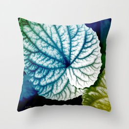 Blue Leaf Abstract Art Throw Pillow