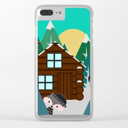 Winter cabin in the woods Clear iPhone Case