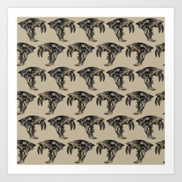 Ancient Warrior (Sabertooth Skull) Art Print