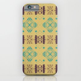 Geometric Stained Glass Blocks - Light Golden Yellow Pattern on Pale Turquoise & Magenta by artestreestudio iPhone Case