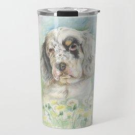 ENGLISH SETTER PUPPY Cute dog portrait on the dandelions meadow Travel Mug
