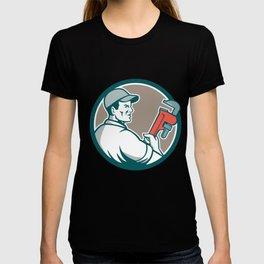 Plumber Monkey Wrench Side Circle Retro T-shirt