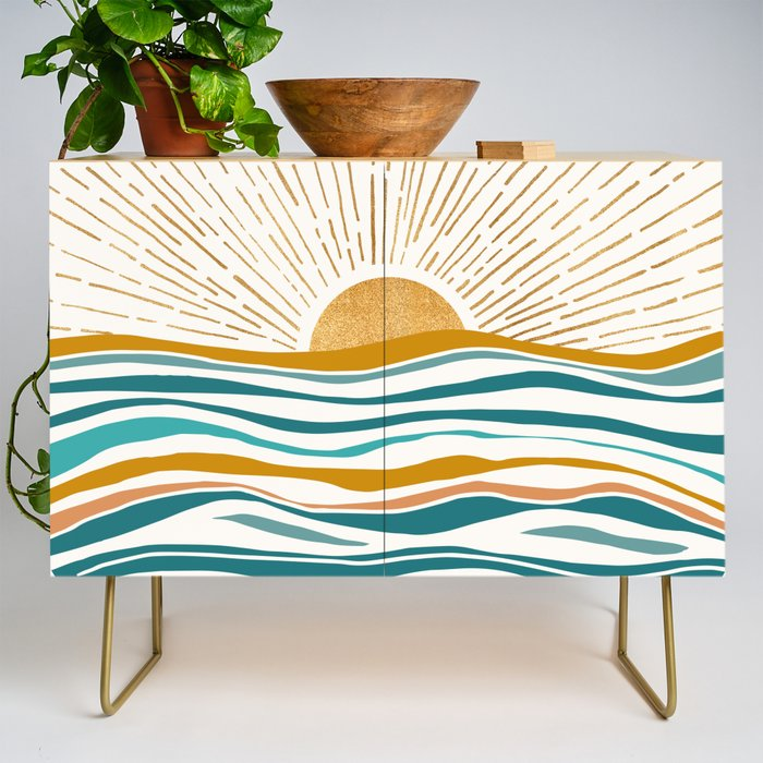 The Sun and The Sea - Gold and Teal Credenza