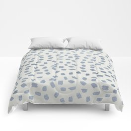 Simply Ink Splotch Indigo Blue on Lunar Gray Comforters