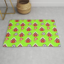 Magical gingerbread houses, colorful candy lollipops. Retro vintage cozy Christmas pattern Rug