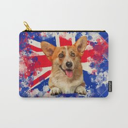 Corgi Portrait with Britain Flag Carry-All Pouch