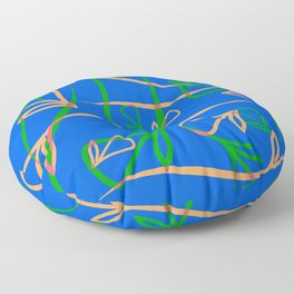 Geometric pastel pattern from vegetative peach and mint elements on a blue background. Floor Pillow