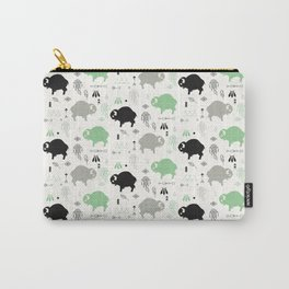 Seamless pattern with cute baby buffaloes and native American symbols, white Carry-All Pouch
