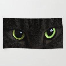 Green Cat Eyes Beach Towel