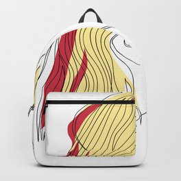 One-Line Art Woman Short Hairstyle 03 Backpack