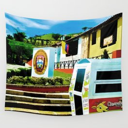 Bright blue sky, bright colors. Wall Tapestry