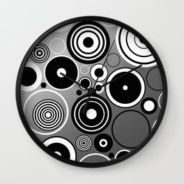 Geometric black and white rings on metallic silver Wall Clock