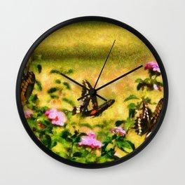 Three Giant Swallowtails - Monet Style Wall Clock
