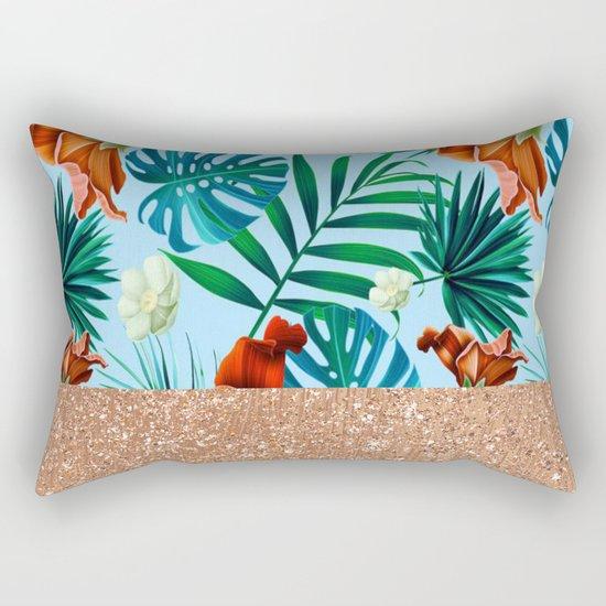Tropical blue floral rose gold Rectangular Pillow