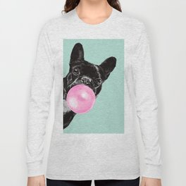 Bubble Gum Sneaky French Bulldog in Green Long Sleeve T-shirt
