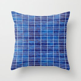 Polycrystalline Solar Panels Watercolor Painting Throw Pillow