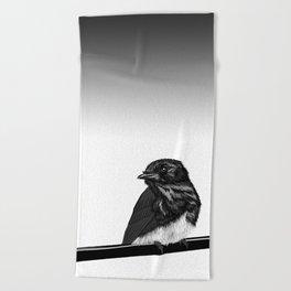 Black Bird Beach Towel