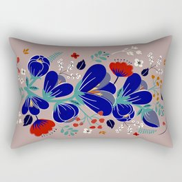 Folk Spring Flowers blooms Rectangular Pillow