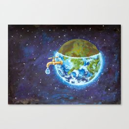 Water crisis, water shortage problem, drought, save water - the concept of original hand painted Canvas Print
