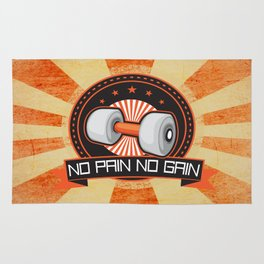 No Pain No Gain Motivational Daily Fitness Quote Rug