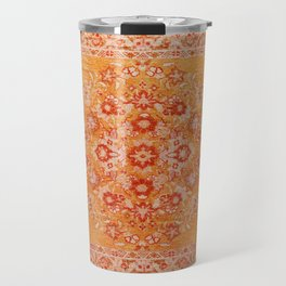 N78 - Orange Antique Oriental Berber Moroccan Style Carpet Design. Travel Mug