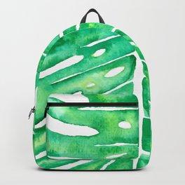 Monstera Leaf in Watercolor Backpack