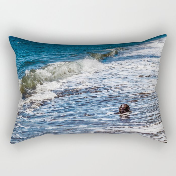 Waves vs Coconut Rectangular Pillow