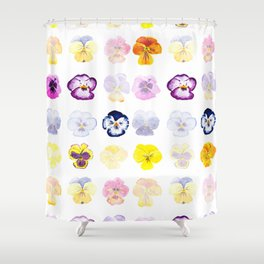 colorful pansies watercolor painting Shower Curtain