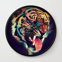tigers Wall Clocks featuring FEROCIOUS TIGER by dzeri29