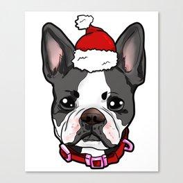 Boston Terrier Dog Christmas Hat Present Canvas Print