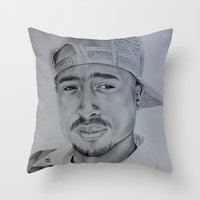 tupac Throw Pillows featuring Tupac  by Brooke Shane