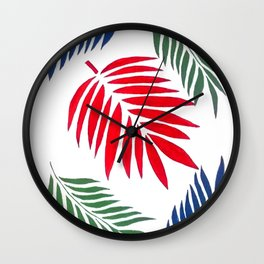 5 Paplm Leaves Wall Clock