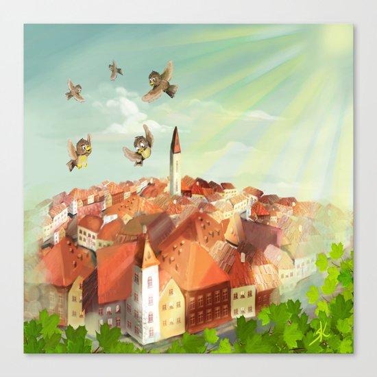 Sunny town Canvas Print