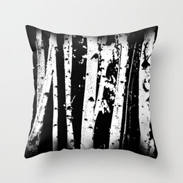 Black and White Birch Trees Fade Out Throw Pillow