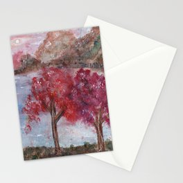 Watercolor Brilliant Night Landscape Stationery Cards