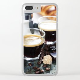 Breakfast with coffee and croissants Clear iPhone Case