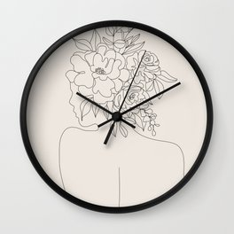 Woman with Flowers Minimal Line I Wall Clock