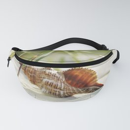 big shell in the sand, in the green of the beach-oats Fanny Pack