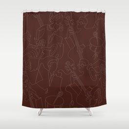 Jazz Musicians (Maroon) Shower Curtain